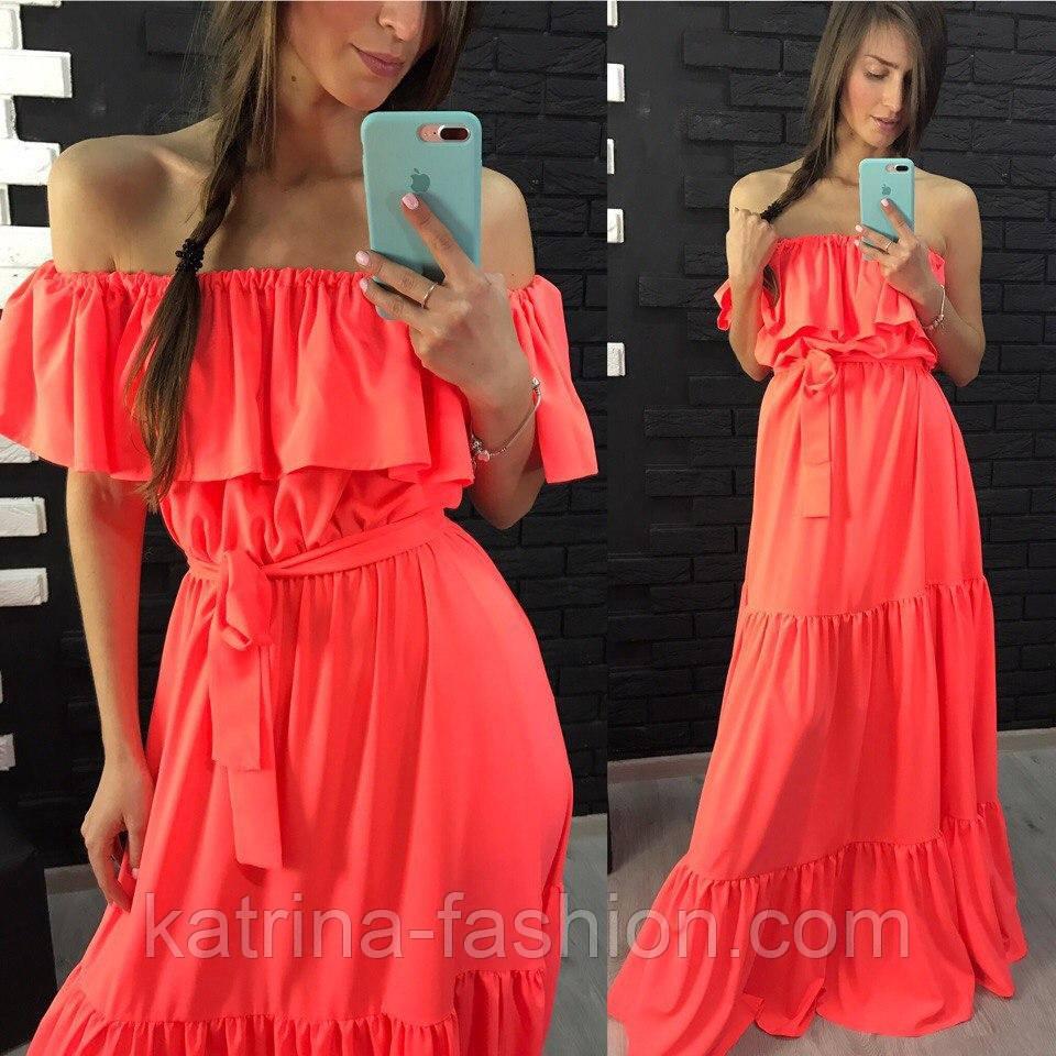 405183476c1 Нарядное женское платье в пол с воланом (4 цвета)  продажа