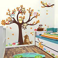 """Интерьерная наклейка на стену """"Осеннее дерево с совами и животными"""""""