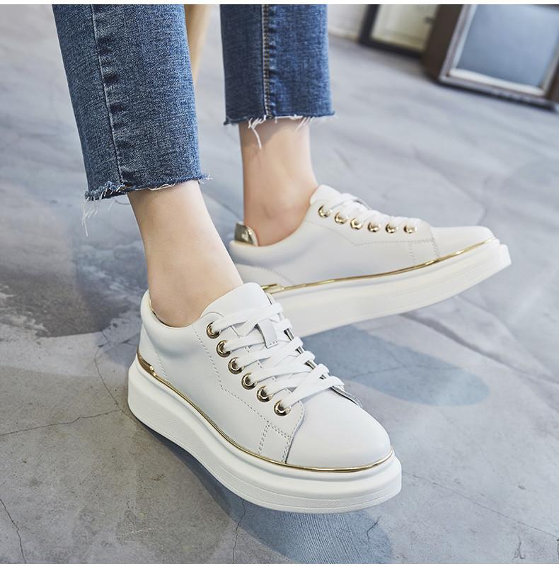 0ed12a02d689 Кожаные белые спортивные туфли с блестящей отделкой