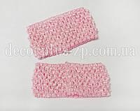 Повязка ажурная для волос 7 см. Розовая