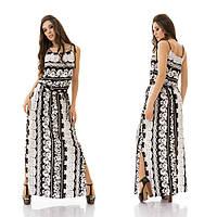 Очень красивое платье сарафан макси в пол, орнамент, по бокам разрезы