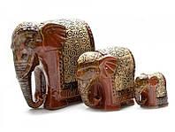 Слоны керамические 3 шт (19,5х18,5х11см 12х12х8см 7х7,5х4,5см) ( 26055)