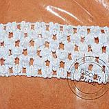 Повязка ажурная для волос 7 см. Белая, фото 2