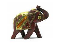 Слон деревянный винтажный с медными вставками (h-16 см) ( 4447)