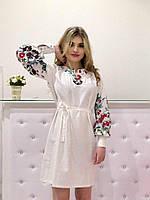 Платье-рубашка модное с вышивкой ткань лен 2 цвета SMm1513