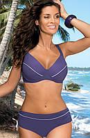 Раздельный купальник для большой груди (D, E, F, G в расцветках) т-фиолетовый (mora), 95 F/2XL