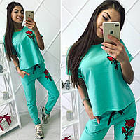 """Летний женский спортивный костюм """"Роза"""" с вышивкой (3 цвета)"""