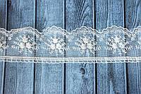 Кружево Розочки на фатине, около 10 ярд/уп, молочного цвета