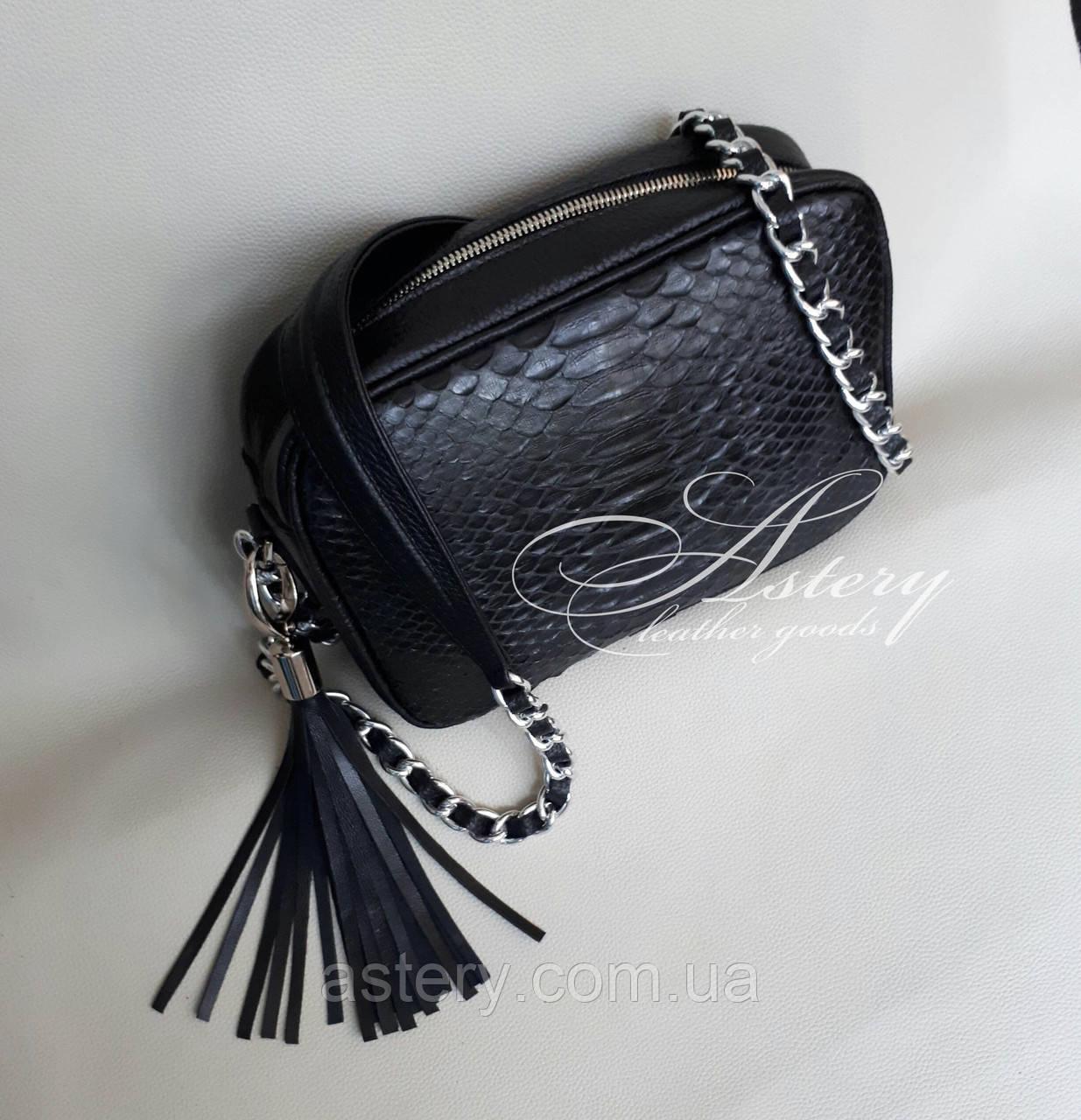 Женская черная сумочка STELLA из питона