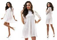 Белое воздушное платье разлетайка из гипюра и кружева для особых случаев