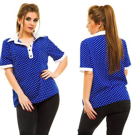 """Летняя шифоновая женская блуза """"Nikolett"""" с воротничком и коротким рукавом (большие размеры), фото 2"""
