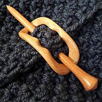 Застежка для шали брошка  деревянная змейка, фото 1