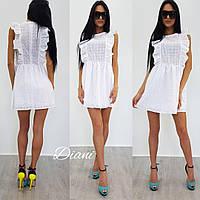 Платье женское летнее короткое с воланами прошва SMdi1515