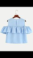 Летняя легкая блузка топ с оборкой, фото 1