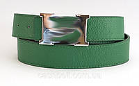 Ремень женский гвоздик кожзам зеленый Женский двухсторонний ремень (100065)