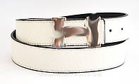 Белый модный двусторонний женский ремень-гвоздик кожзам (100339)