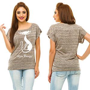 """Стильная женская футболка на одно плечо """"CAT"""" с принтом"""
