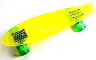 """Пенниборд """"Crystall"""" Yellow Светящиеся колеса"""
