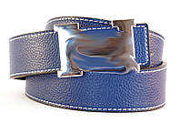 Красивый двусторонний ремень женский гвоздик кожзам синий, фото 1