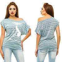 """Стильная женская футболка на одно плечо """"CAT"""" с принтом (7 цветов)"""