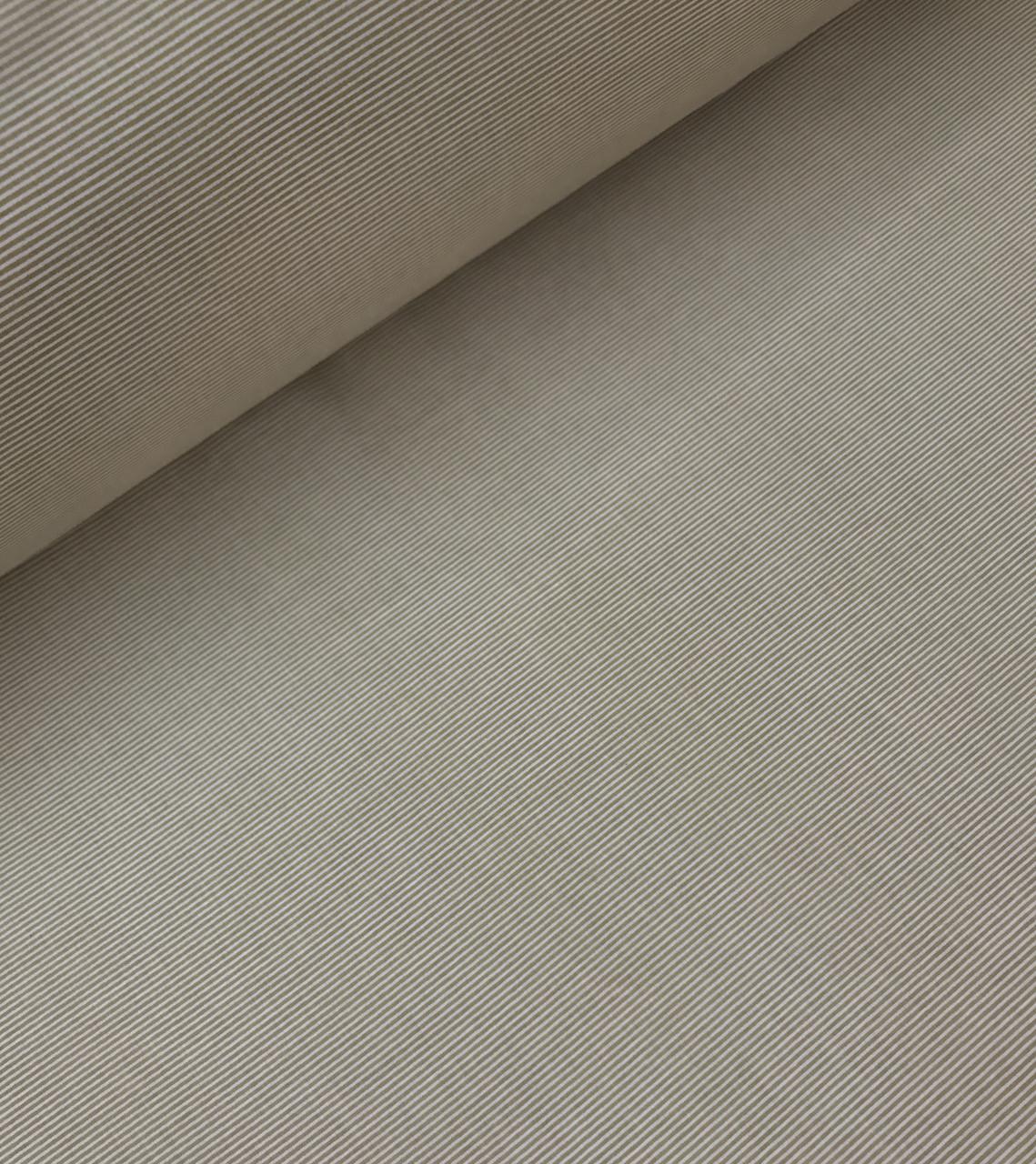 Хлопковая ткань польская темно бежевая полоска мелкая