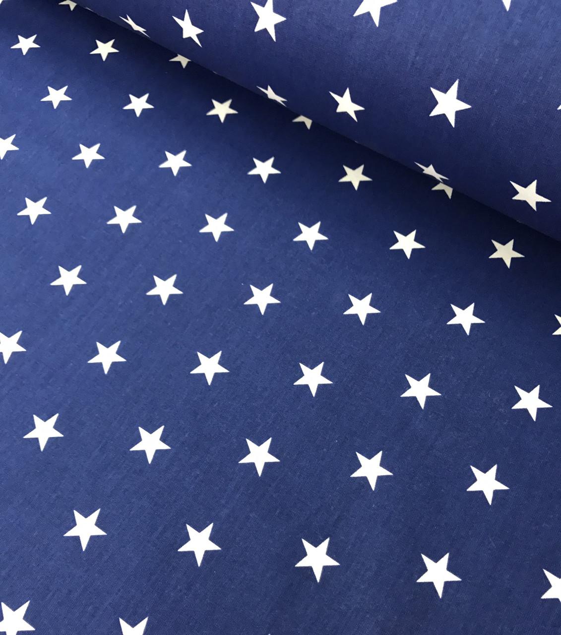 Хлопковая ткань  белые звезды на синем частые №183