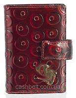 Кожаная лаковая стильная прочная визитница с тисненой кожи art. D-78046 A красный