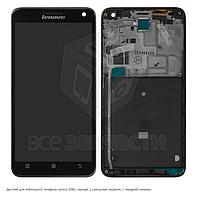 Дисплейный модуль Lenovo S580, черный, с сенсорным экраном, с передней панелью