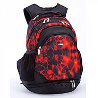 Рюкзак черно-красный ортопедический модный тканевый большой на два отделения Dolly 373 37х44х25 см