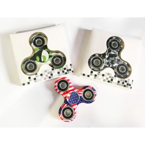 Спиннер - hand spinner Tri fidget хром+керамика абстракция