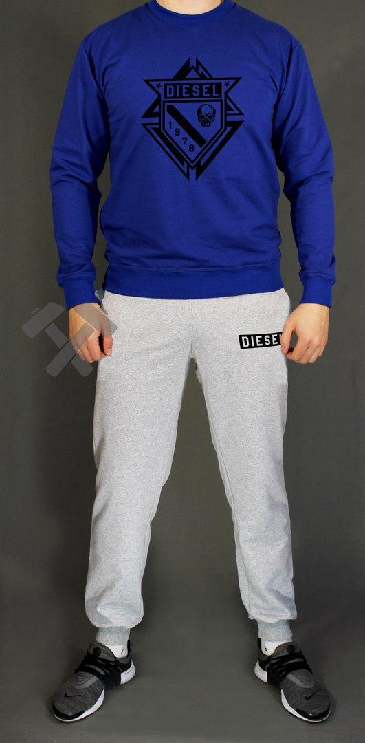 Мужской спортивный костюм Diesel синяя кофта с серыми штанами (люкс копия)  - Интернет- f1779fc9fbc
