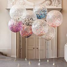 Воздушный шар с конетти 70 см на ленте