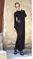 Стильное длинное однотонное платье в пол с драпировкой и длинными рукавами