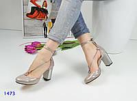 Женские босоножки на каблуке 8 см, натуральная лаковая кожа, перламутровые / закрытые босоножки женские