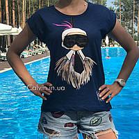 Женская футболка FENDI синяя