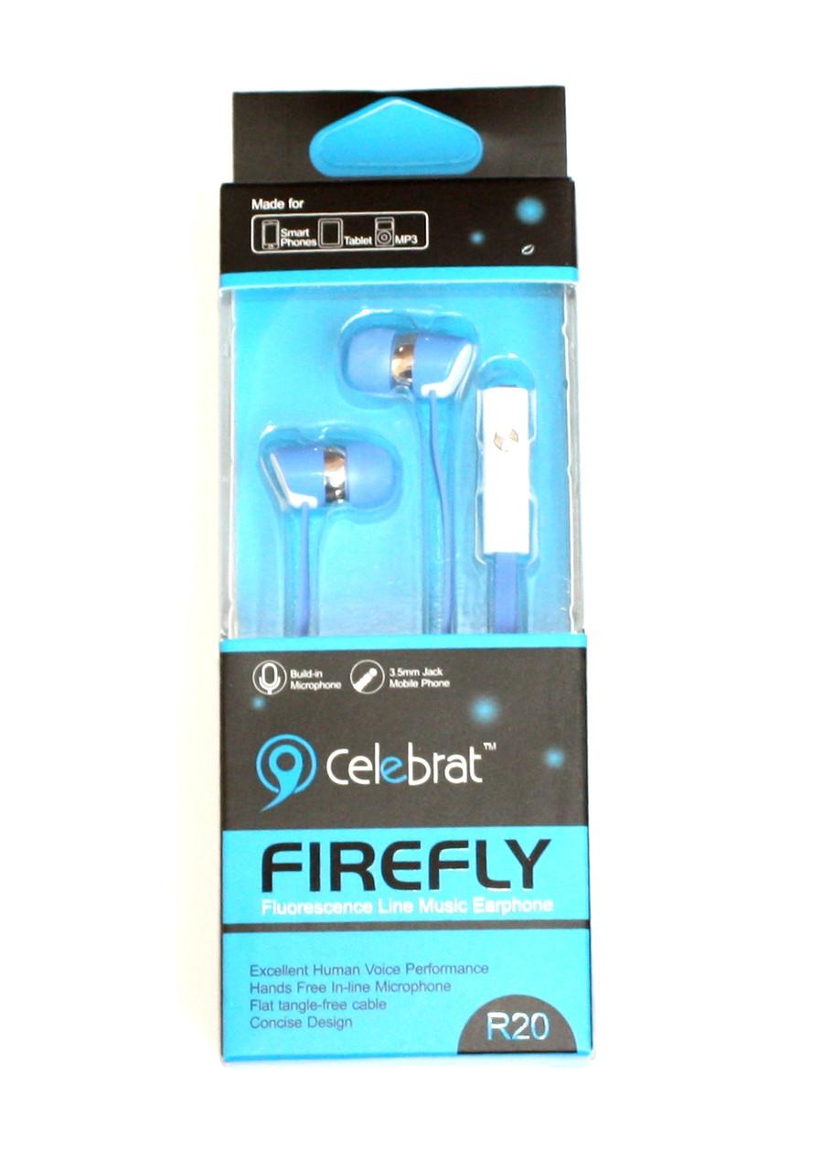 Навушники вакуумні Celebrat R20 blue+mic (гарнитура) 3d17717d2aed5