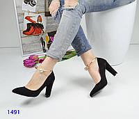 Женские туфли на каблуке 9,5 см, эко замша, черные /  туфли женские с браслетом, стильные