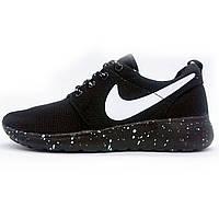 Мужские кроссовки женские кроссовки найк роше ран Nike Roshe Run черная подошва в крапенку