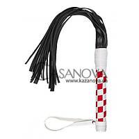 Плеть S&M Leather Flogger бело-красная, Красный