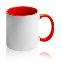 Чашка сублимационная цветная внутри и ручка Красная