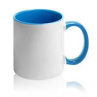 Чашка сублимационная цветная внутри и ручка Голубая