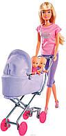 Кукла Штеффи в бриджах с детьми в коляске, Steffi & Evi Love