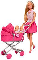 Кукла Штеффи в платье с детьми в коляске, Steffi & Evi Love