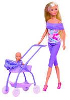Кукла Штеффи в фиолетовом и коляска с малышом, Steffi & Evi Love