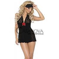 Мини-платье и маска Mini Dress & Eye Mask чёрные, Черный, SM