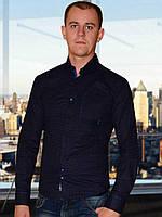 Мужская рубашка (Темно синий с голубым)