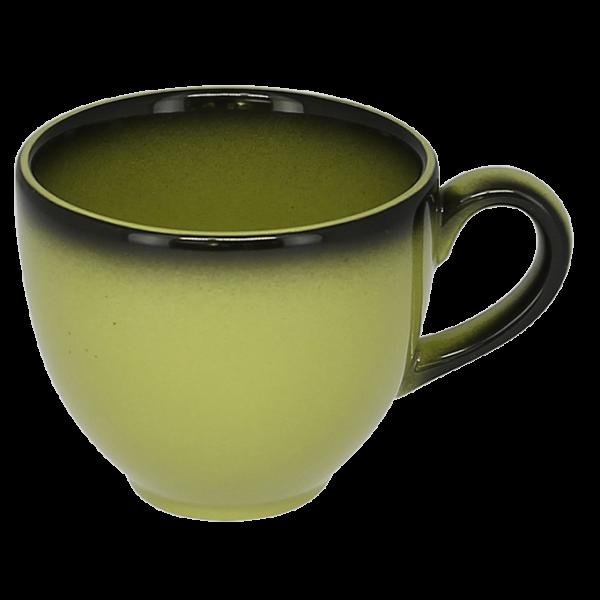 Чашка 200 мл. фарфоровая, зеленая с черным ободком Lea, RAK