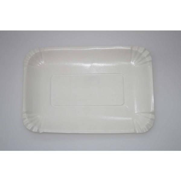 Тарелка одноразовая прямоугольная бумажная ламинированная, 210х150мм,100шт/уп