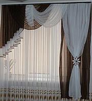 Комплект ламбрекен со шторой в спальню Агния 2м шоколадный