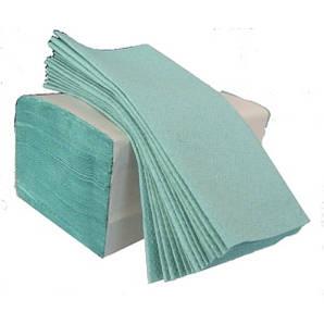 Полотенце бумажное зеленое 1 слой ZZ, 200листов/уп
